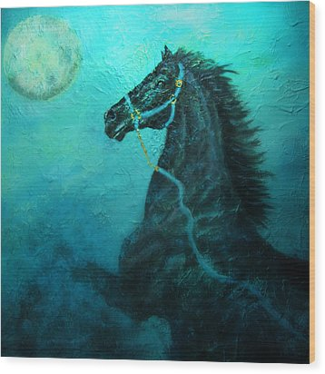 Moon Dance Wood Print by The Art With A Heart By Charlotte Phillips