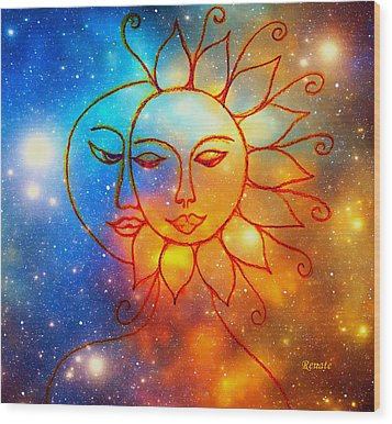 Moon Do You Love Me Asks The Sun... Wood Print