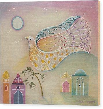 Moon Dove Wood Print by Sally Appleby