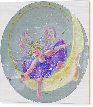 Moon Fairy Wood Print