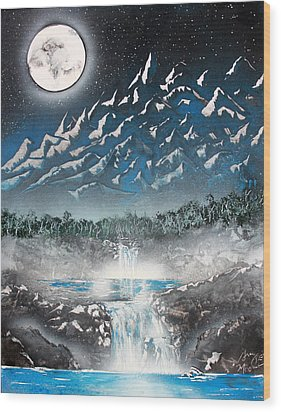 Wood Print featuring the painting Moon Falls by Greg Moores
