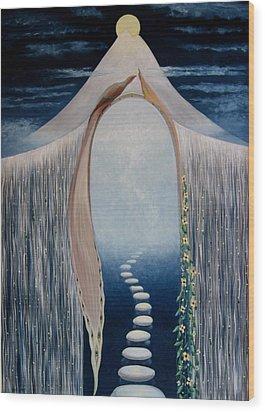 Wood Print featuring the painting Moon Gate by Tone Aanderaa