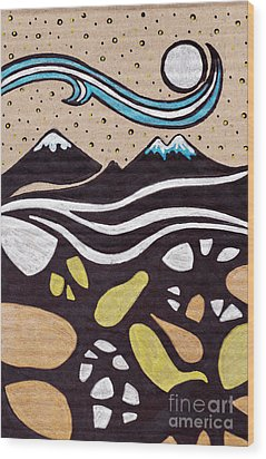 Moon Wood Print by HD Connelly