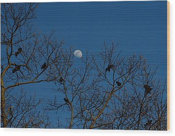 Moon In The Sky 3 Wood Print
