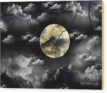 Moon In The Storm Wood Print