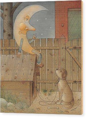 Moon Wood Print by Kestutis Kasparavicius