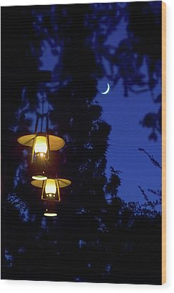 Wood Print featuring the photograph Moon Lanterns by Mark Andrew Thomas