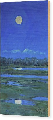 Wood Print featuring the painting Moon Light And Mud Puddles by Billie Colson