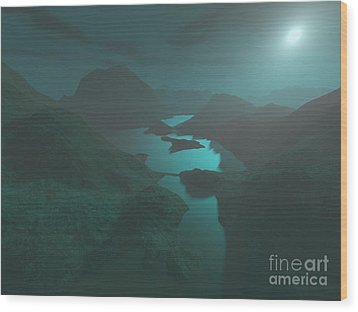 Moon Light At The Mountains Wood Print by Gaspar Avila