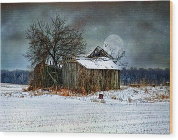Moon Light Barn Wood Print by Mary Timman
