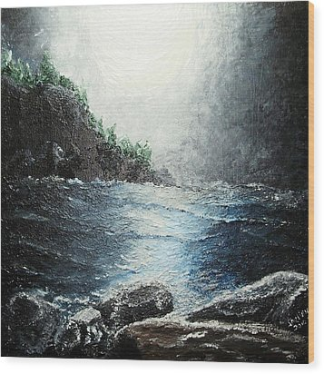 Moon Light On The Ocean Wood Print