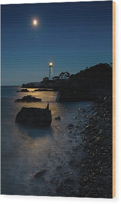 Wood Print featuring the photograph Moon Light Over The Lighthouse  by Emmanuel Panagiotakis