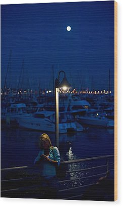 Moon Light Texting Wood Print by Tom Dowd