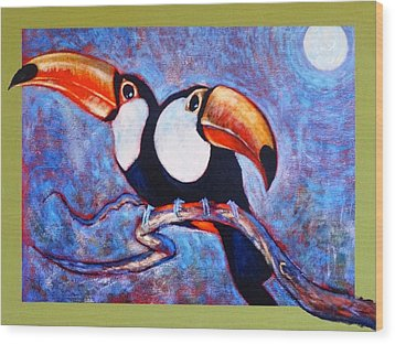 Moon Light Toucans Two Wood Print