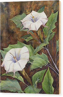 Moon Lilies Wood Print by Catherine G McElroy