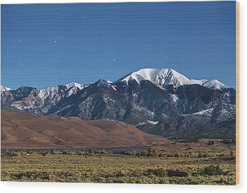Moon Lit Colorado Great Sand Dunes Starry Night  Wood Print by James BO Insogna