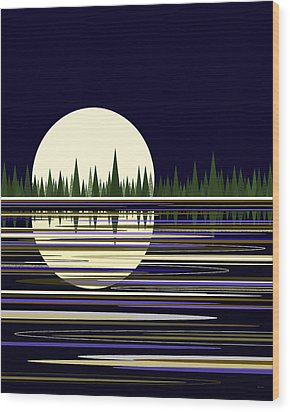 Wood Print featuring the digital art Moon Lit Water by Val Arie