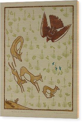 Moon Of Black Chokecherries Wood Print by Dawn Senior-Trask