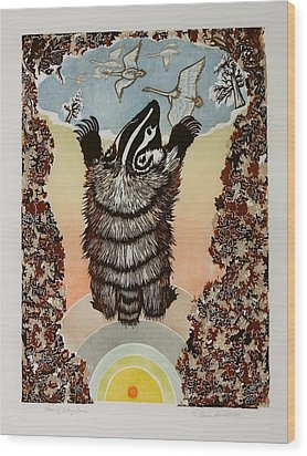 Moon Of Falling Leaves Wood Print by Dawn Senior-Trask