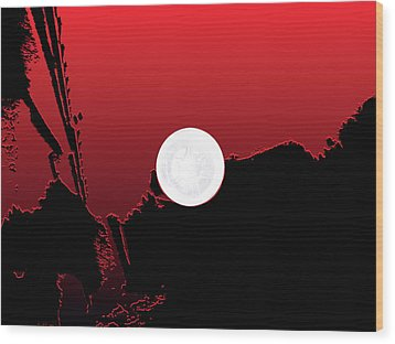 Moon On Abstract World Wood Print by Bruce Iorio