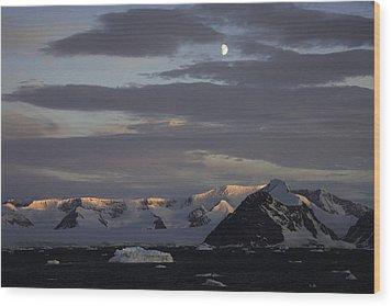 Moon Over Alpine Glow Antarctica Wood Print