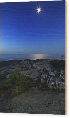 Moon Over Cadillac Wood Print