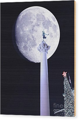 Moon Over Dewey Wood Print by Wingsdomain Art and Photography