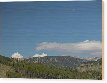 Wood Print featuring the photograph Moon Over Eldora Summer Season Ski Slopes by James BO Insogna
