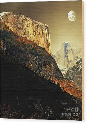 Moon Over Half Dome . Portrait Cut Wood Print by Wingsdomain Art and Photography