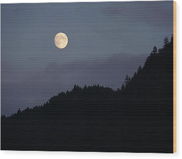 Wood Print featuring the photograph Moon Over Hill by Menega Sabidussi