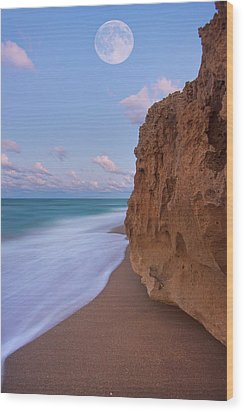 Moon Over Hutchinson Island Beach Wood Print