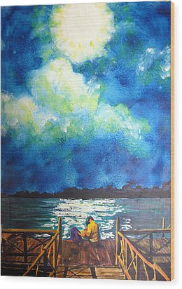 Moon Over Laguna De Perlas Wood Print