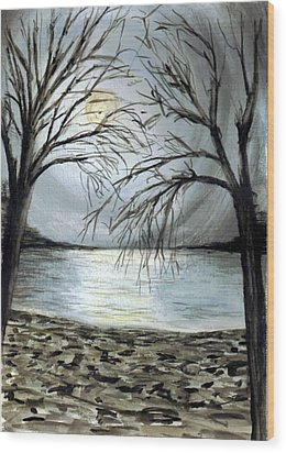 Moon Over Lake Wood Print by Terence John Cleary