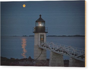 Wood Print featuring the photograph Moon Over Marshall Point by Rick Berk