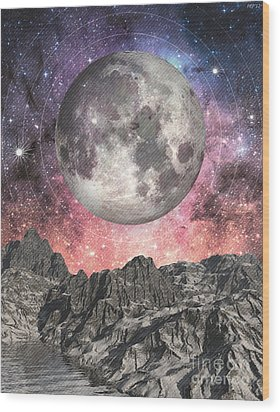 Moon Over Mountain Lake Wood Print by Phil Perkins