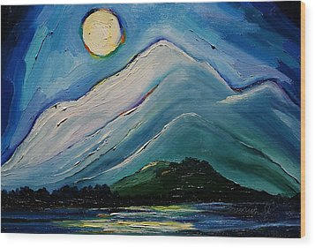 Moon Over Pioneer Peak Wood Print