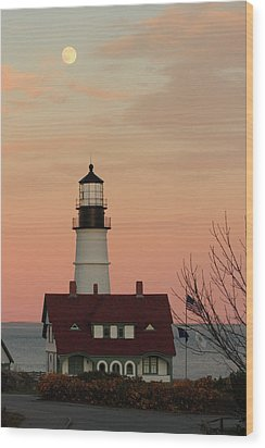 Moon Over Portland Head Lighthouse Wood Print by Lou Ford