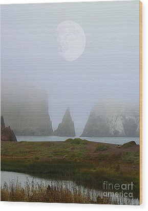 Moon Over Rodeo Beach Wood Print by Wingsdomain Art and Photography