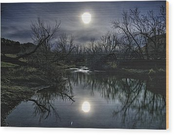 Moon Over Sand Creek Wood Print