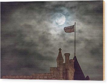 Moon Over The Bank Wood Print