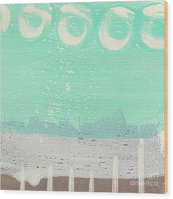 Moon Over The Sea Wood Print by Linda Woods