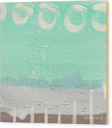 Moon Over The Sea Wood Print