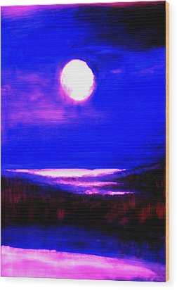 moon over the Stillwater river  Wood Print