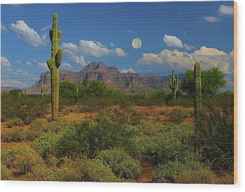 Moon Over The Superstition Mtn Wood Print by Brian Lambert