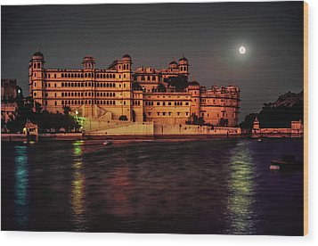 Moon Over Udaipur Wood Print by Steve Harrington