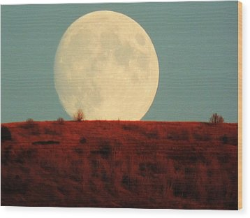 Moon Over Utah Wood Print by Charlotte Schafer