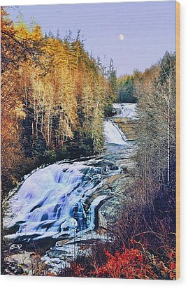 Moon Over Triple Falls Wood Print