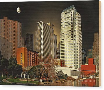 Moon Over Yerba Buena Gardens San Francisco Wood Print by Wingsdomain Art and Photography