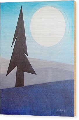Wood Print featuring the painting Moon Rings by J R Seymour