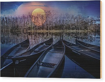 Wood Print featuring the photograph Moon Rise On The River by Debra and Dave Vanderlaan